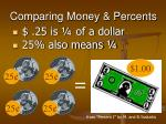 comparing money percents