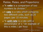 ratios rates and proportions