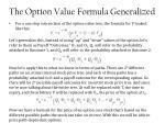 the option value formula generalized