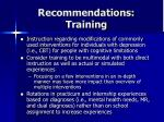 recommendations training