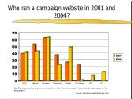 who ran a campaign website in 2001 and 2004