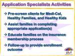 application specialists activities