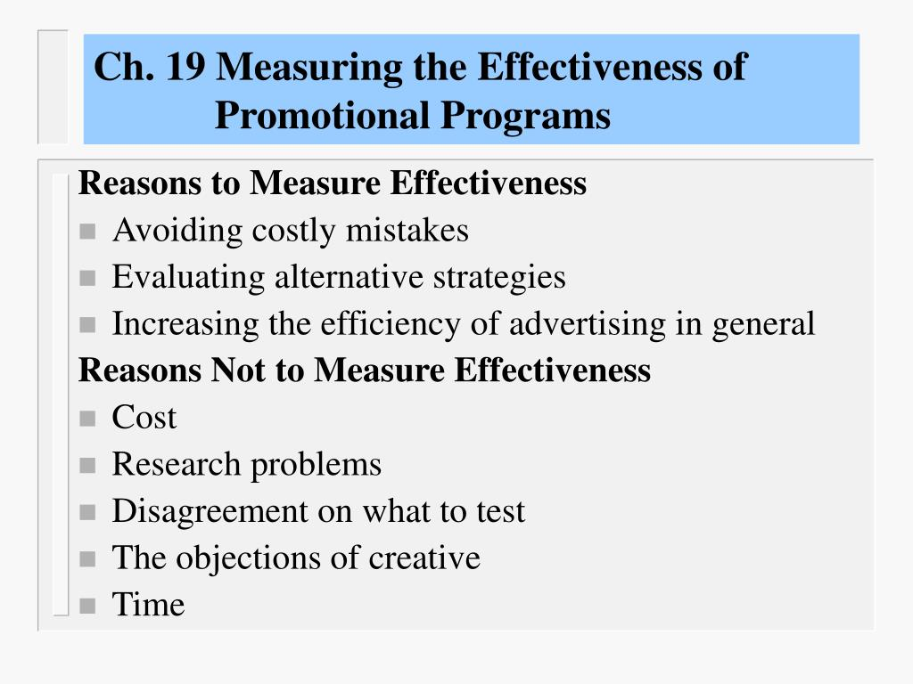 ch 19 measuring the effectiveness of promotional programs l.