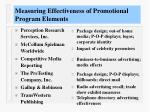 measuring effectiveness of promotional program elements