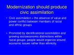 modernization should produce civic assimilation