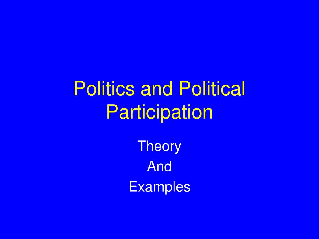 politics and political participation l.