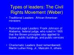types of leaders the civil rights movement weber