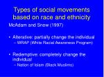 types of social movements based on race and ethnicity