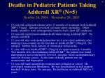 deaths in pediatric patients taking adderall xr n 5