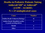 deaths in pediatric patients taking adderall xr or adderall 1 1 99 11 28 05 n 23 unduplicated cases