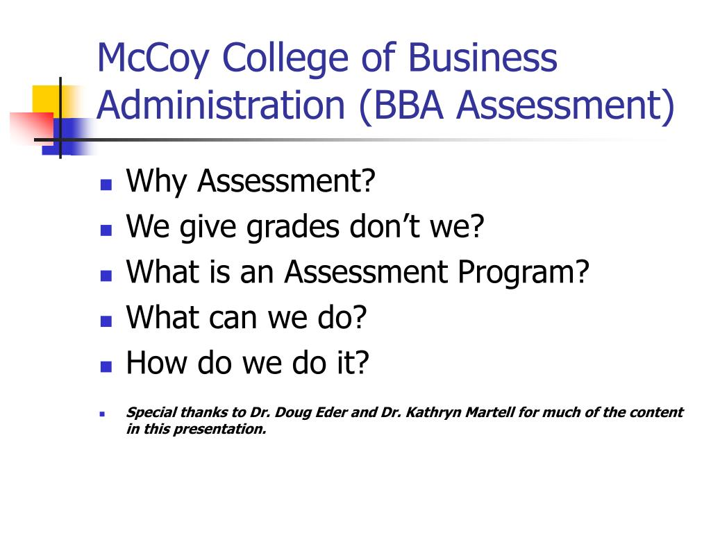 mccoy college of business administration bba assessment l.
