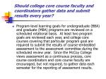 should college core course faculty and coordinators gather data and submit results every year