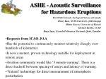ashe acoustic surveillance for hazardous eruptions