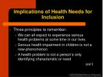 implications of health needs for inclusion