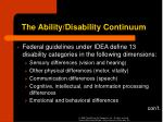 the ability disability continuum