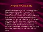 activities continued27