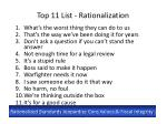 top 11 list rationalization