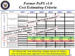 former pops v1 0 cost estimating criteria