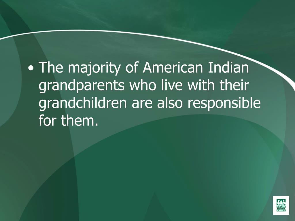 The majority of American Indian grandparents who live with their grandchildren are also responsible for them.