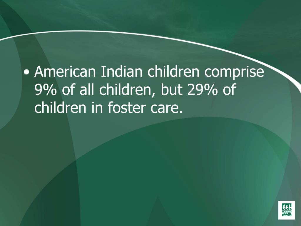 American Indian children comprise 9% of all children, but 29% of children in foster care.