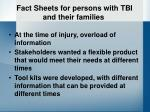 fact sheets for persons with tbi and their families