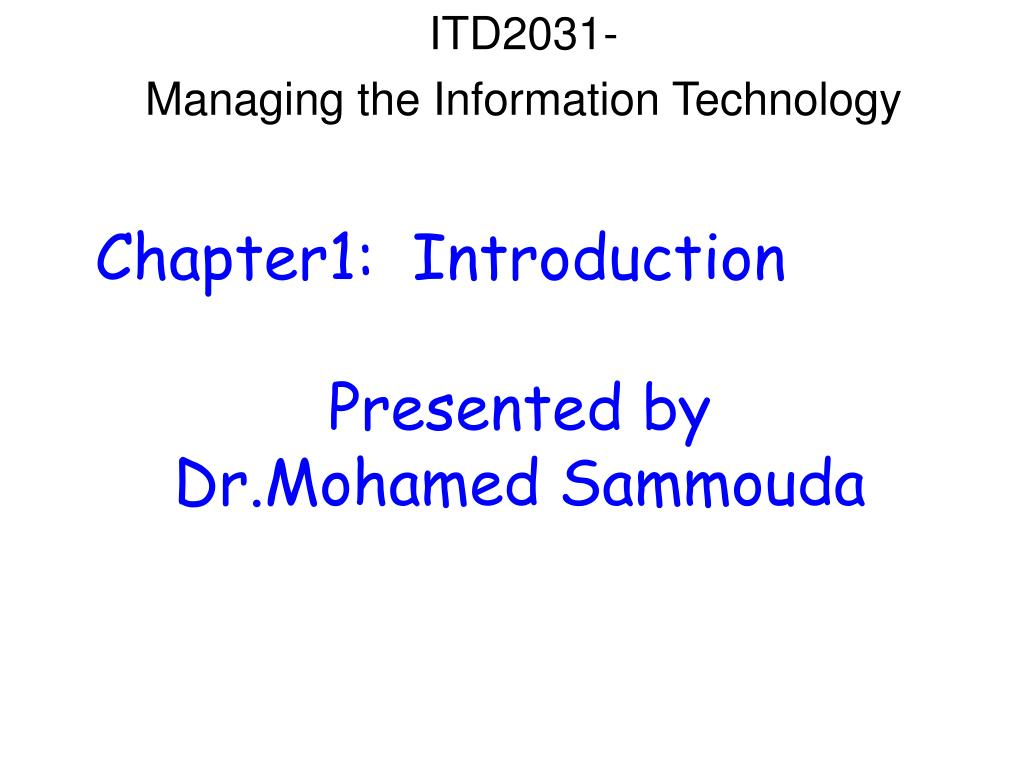 itd2031 managing the information technology l.