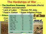 the hardships of war