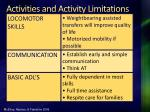 activities and activity limitations