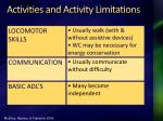 activities and activity limitations97