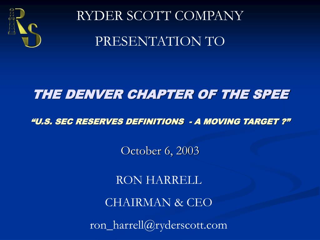 the denver chapter of the spee u s sec reserves definitions a moving target l.