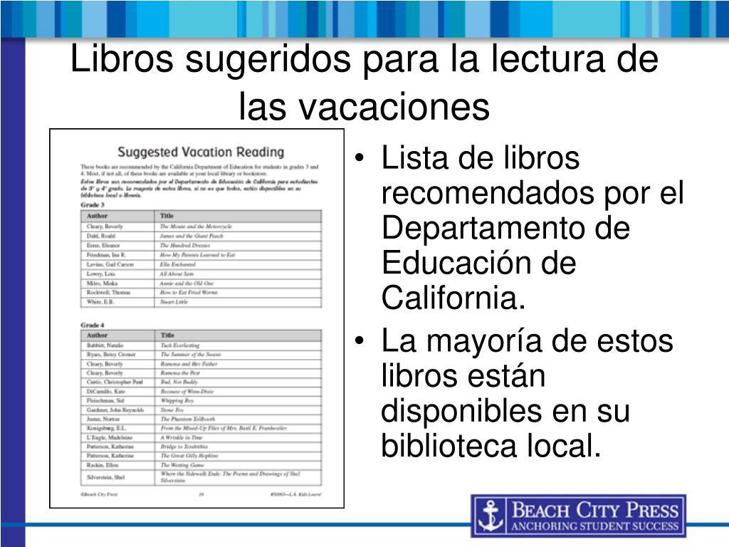 Lista de libros recomendados por el Departamento de Educación de California.