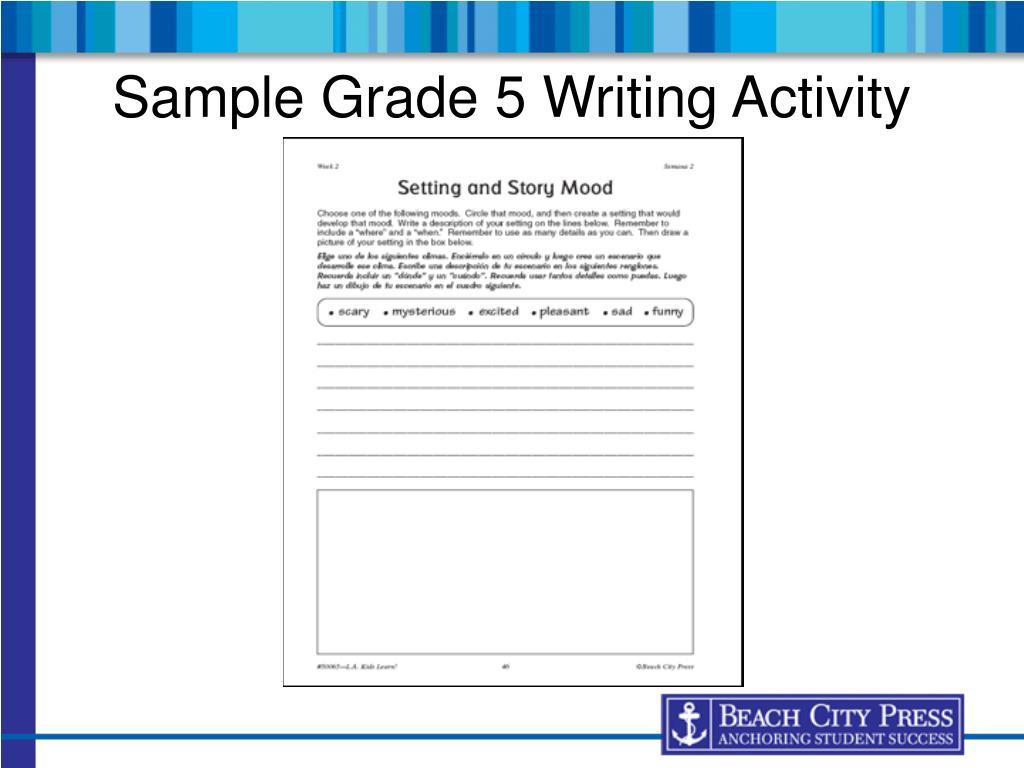 Sample Grade 5 Writing Activity