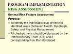 program implementation risk assessment81