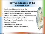 key components of the business plan