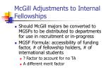 mcgill adjustments to internal fellowships