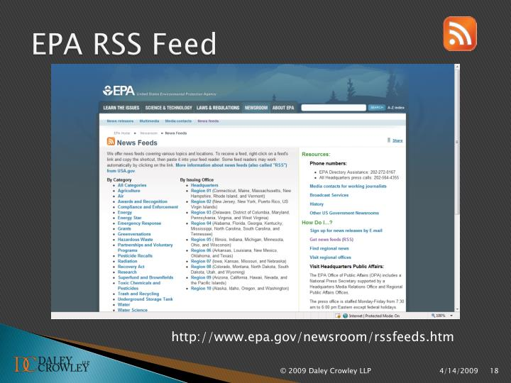 EPA RSS Feed