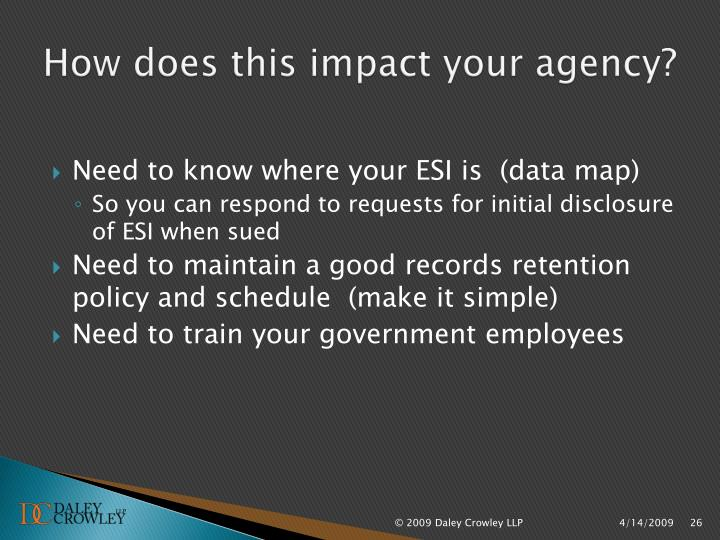 How does this impact your agency?