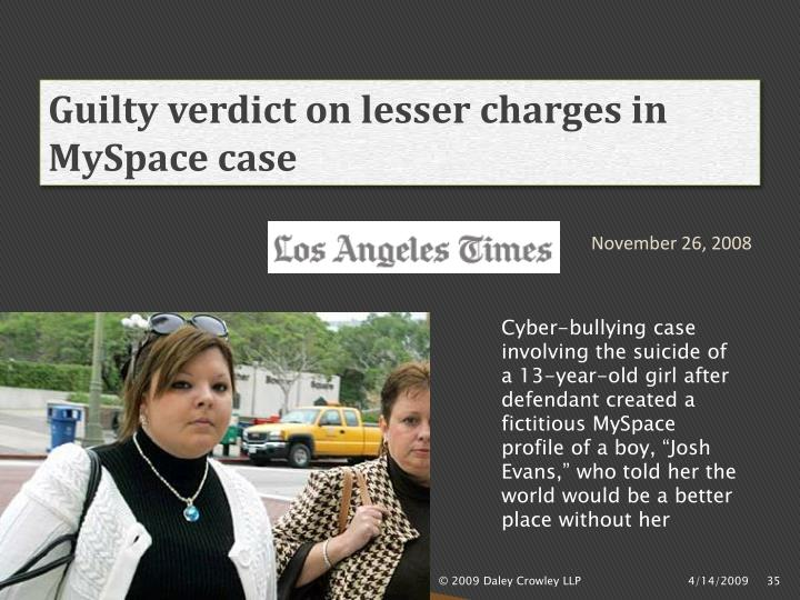 Guilty verdict on lesser charges in MySpace case