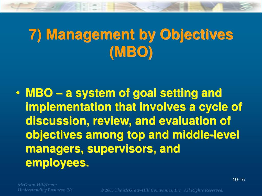 7) Management by Objectives (MBO)