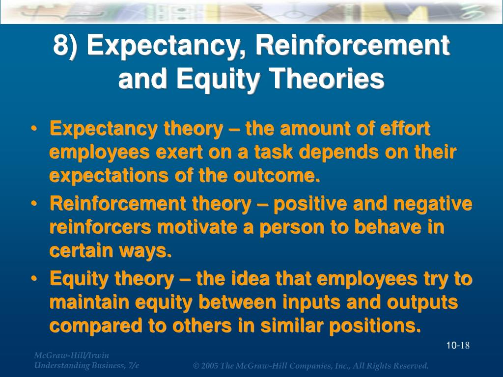 8) Expectancy, Reinforcement and Equity Theories