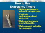 how to use expectancy theory