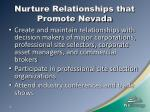 nurture relationships that promote nevada
