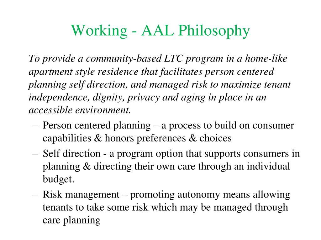 Working - AAL Philosophy