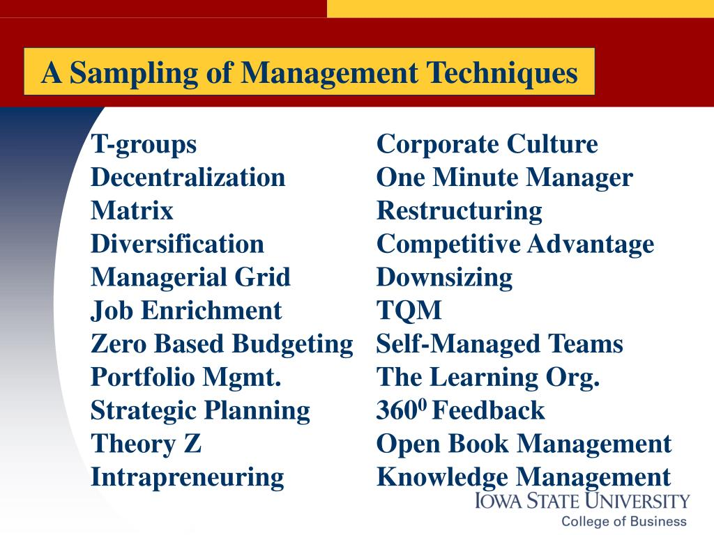 A Sampling of Management Techniques