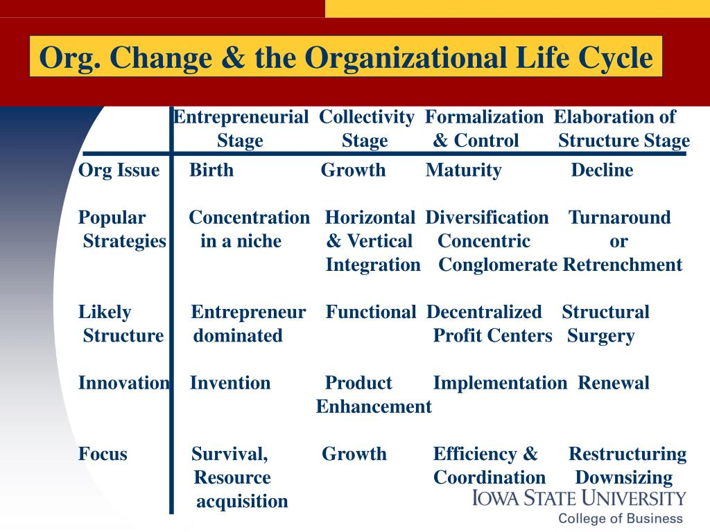 Org. Change & the Organizational Life Cycle