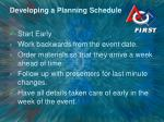 developing a planning schedule
