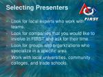 selecting presenters