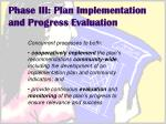 phase iii plan implementation and progress evaluation
