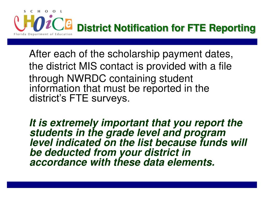 District Notification for FTE Reporting