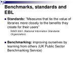 benchmarks standards and ebl